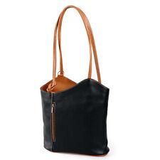 ital. Handtasche Damen Schulter*Tasche Rucksack 2in1 schwarz cognac echt Leder