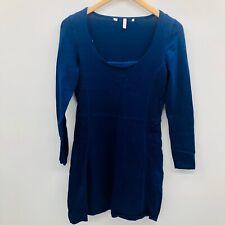 Victorias Secret Womens Small Long Sleeve Sweater Dress Lined Slip Ink Blue 780