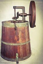 Antique BUTTER Churn HEAVY Large Milk Barrel Primitive Wood Cast-iron c1880