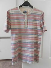 M&S NORTH COAST T-SHIRT - SIZE UK SMALL - CORAL PINK STRIPED