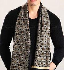 "Luxurious Gift!   Mens 100% Silk Long Scarf/Cravat Double Layer 63""X12"" Black"