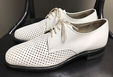 VTG Hanover White Leather Oxford Dress Shoes Mens 9D M Perforated Derby Wedding