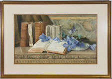 M. MacLaren - Signed 1892 Watercolour, Still Life with Sermon Books and Flowers