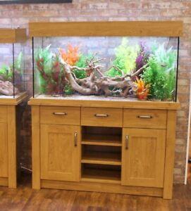 Ex Display Aqua One Oakstyle 230L Oak Fish Tank Aquarium with LED Light cabinet