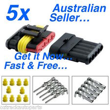 5 x 5 Pin Waterproof Automotive/Marine Electrical Sealed Wire Connector 12v