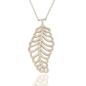 """Sterling Silver Elise Feather Micro Set Pendant,16""""-18"""",P617"""