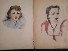 Movie Stars Pin Up Art School Drawings  Illustrations Pair Circa 1950 on Paper