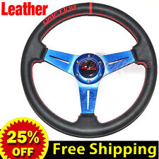 "350mm 14"" LEATHER Drift Racing Rally Steering Wheel RED Stitch Universal BLUE"