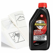 Engine Oil Top Up 1 LITRE Texaco Havoline Extra 10w-40 1L +Gloves,Wipes,Funnel