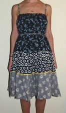 New Womens Medium Free People Smocked Ruched Navy Blue Floral Print Layer Dress