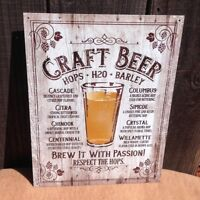 Craft Beer Brew With Passion Sign Tin Vintage Garage Bar Decor Old