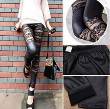 Sexy Black PU Leather Leggings Stretch Women Bandage Floral Lace Mesh Pants