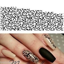 Nail Art Water Decals Stickers Black White Animal Leopard Spots Gel Polish
