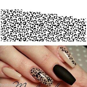 Nail Art Water Decals Stickers Black White Animal Leopard Spots Gel Polish