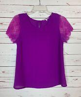 41 HAWTHORN Stitch Fix Women's S Small Purple Lace Short Sleeve Top Blouse Shirt
