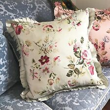 Shabby Cottage Down Filled Throw Pillow Pink Green Roses Ruffles Rodeo Home