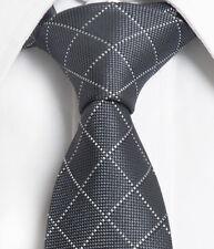 "Gray White Checker Men Skinny Slim Narrow Woven Silk 2.5"" Wedding Neck Tie LT247"