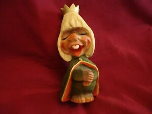 """Henning Hand Carved Wood Troll Crowned Figurine Norway 6"""" Tall"""