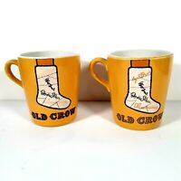 Old Crow Kentucky Whiskies Set of 2 Signed Cast Ceramic Mugs Coffee Cups