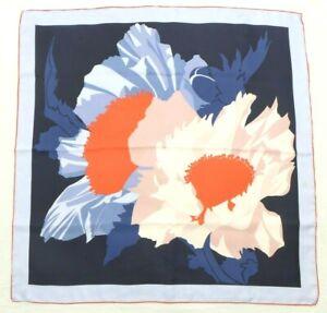 "Talbots Bold Blue/Orange Floral Rolled Hem 31.5"" 100% Silk Scarf"