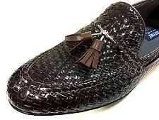 Mocassino loafer marrone scuro intrecciata scarpe uomo pantofola