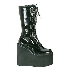 DEMONIA SWING 220 Black Patent  Goth Punk Cyber Platform Boots With Buckles UK 8