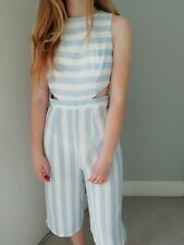 Baby Blue Stripe Wide Leg Jumpsuit Size S (6) New With Tags