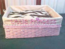 Adorable Little Princess Pink Woven Dog Bed w/Brown Zebra Striped Pillow
