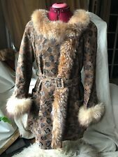 Animal Print BROWN SUEDE/Leather COAT WITH Real FUR COLLAR WOMEN WOMAN SIZE M!!!