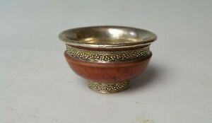 Nice vintage Himalayan Tibetan silver  wood tea bowl