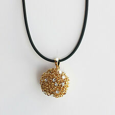 18k Gold GF Solid Golden Ball Pendant Leather Necklace With Swarovski Elements