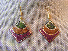 ETHNIC EXOTIC MADE IN INDIA DIAMOND SHAPED CUT ENAMELED DANGLE  PIERCED EARRINGS