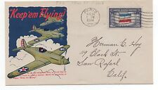 "1944 US Patriotic Cover with Bombers "" Keep 'Em Flying "" Paris KY"
