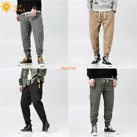 New Men`s Loose Casual Pants Elastic Waist Harem Taper Fit Stretch Jogger Pants