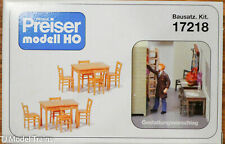 Preiser HO #17218 2 Tables, 8 Chairs. Wooden Color