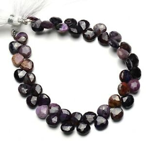 """Natural Rare Gem Sugilite 8MM Size Faceted Heart Shape Beads 8"""" Strand 96Cts."""