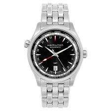 Mens Hamilton H32695131 Jazzmaster Black Dial GMT Stainless Steel Watch