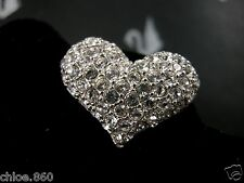 SIGNED SWAROVSKI  PAVE' CRYSTAL HEART PIN~BROOCH  NEW RETIRED  RARE