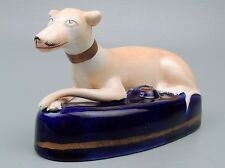 Large Staffordshire Figural Greyhound Pottery Inkwell - Dog Whippet PT