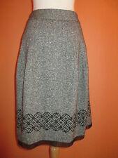 Ann Taylor LOFT Size 10 Black Tweed Embellished Skirt Below The Knee