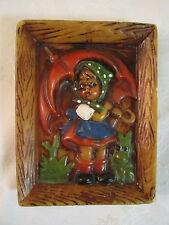 Vintage Wax Relief Hummel Type Scene Girl with Umbrella & Frog (Germany ?)