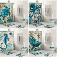 4X Sea Turtles Non Slip Polyester Shower Curtain + Toilet Cover Rug Bath Mat Set