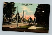 CORRY PA PENNSYLVANIA OLD VIEW ON NORTH CENTER STREET FROM PARK POSTCARD B-1-2