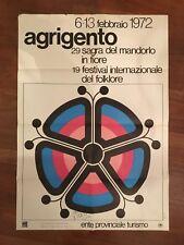 POSTER MANIFESTO AFFICHE 1972 AGRIGENTO ENIT SAGRA MANDORLO FESTIVAL FOLKLORE