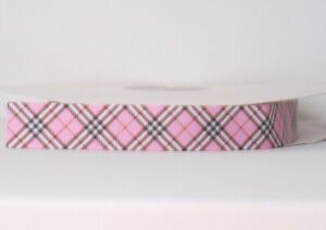 "PINK PLAID SQUARE design 7/8"" Grosgrain Ribbon 1,3,5,10 Yards FACE MASK HAIR BOW"