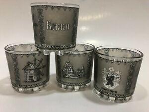 Vintage Russian Theme Shot Glasses -  Set of 4