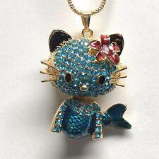 Betsey Johnson Necklace Hello Kitty Gold Teal Crystals Mermaid GIFT BOX BAG LK