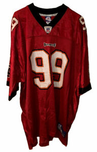 Warren Sapp #99 Tampa Bay Buccaneers 2XL Reebok On Field Red Mesh Jersey NWOT