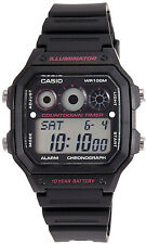 Casio World Time 5 Alarms 10 Year Battery 9 Timers LED Watch AE-1300WH-1A2V New