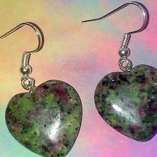 Ruby in Zoisite Earrings, Calming, Creative Heart Healing Aura Gemstones